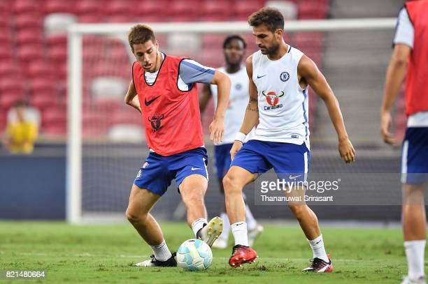 Cesc Fabregas and Mario Pasalic of Chelsea FC competes for the ball during a Chelsea FC International Champions Cup training session at National...