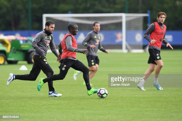 Cesc Fabregas and N'Golo Kante of Chelsea during a training session at Chelsea Training Ground on May 19 2017 in Cobham England
