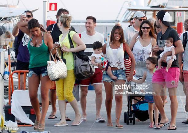 Cesc Fabregas his girlfriend Daniella Semaan their daughter Lia Fabregas Leo Messi his girlfriend Antonella Rocuzzo and their son Thiago Messi are...