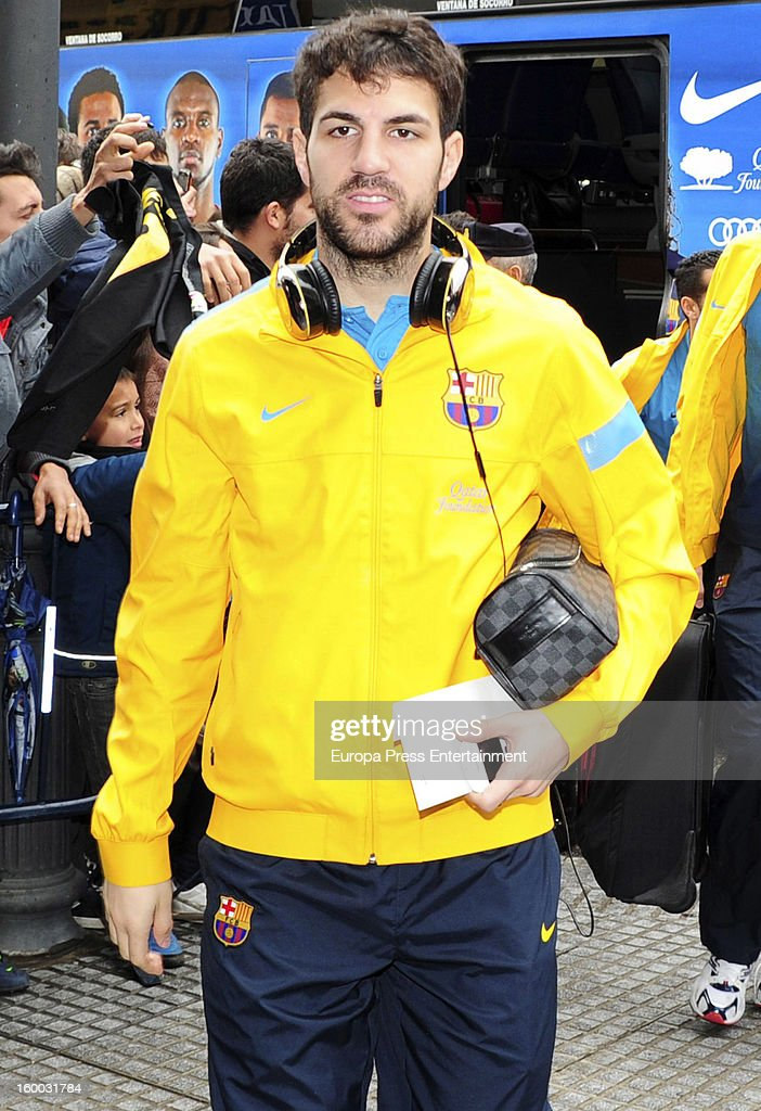 Cesc Fabregas is seen arriving at hotel before the match against Malaga CF for the Copa del Rey Quarter Final on January 24, 2013 in Malaga, Spain.