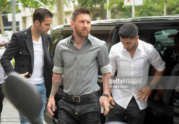 Cesc Fabregas Leo Messi and Luis Suarez seen arriving at the new Sarkany Boutique opening on May 17 2017 in Barcelona Spain