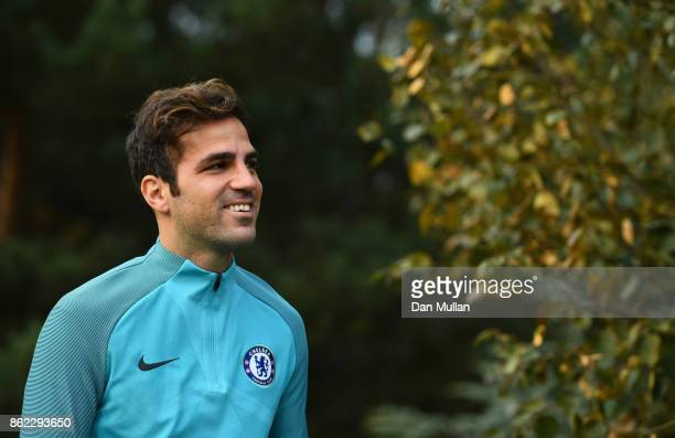 Cesc Fabregas looks on during a Chelsea training session on the eve of their UEFA Champions League match against AS Roma at Chelsea Training Ground...