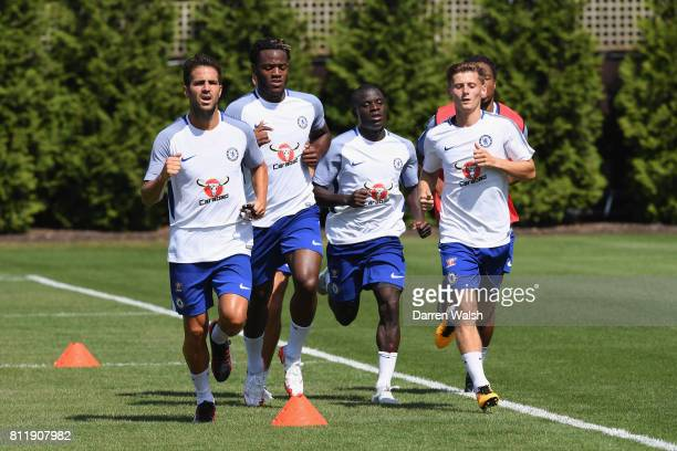 Cesc Fabregas Michy Batshuayi N'Golo Kante and Kyle Scott of Chelsea during a training session at Chelsea Training Ground on July 10 2017 in Cobham...