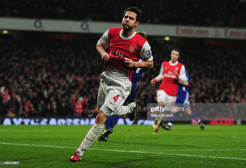 Cesc Fabregas of Arsenal celebrates as he scores their third goal during the Carling Cup Semi Final Second Leg match between Arsenal and Ipswich Town at Emirates Stadium on January 25, 2011 in London, England.