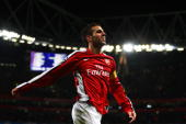 Cesc Fabregas of Arsenal celebrates scoring the third goal of the game during the UEFA Champions League Group H match between Arsenal and AZ Alkmaar...