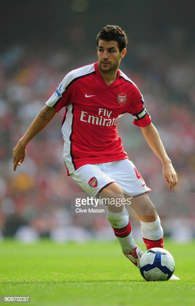Cesc Fabregas of Arsenal in action during the Barclays Premier League match between Arsenal and Wigan Athletic at the Emirates Stadium on September...