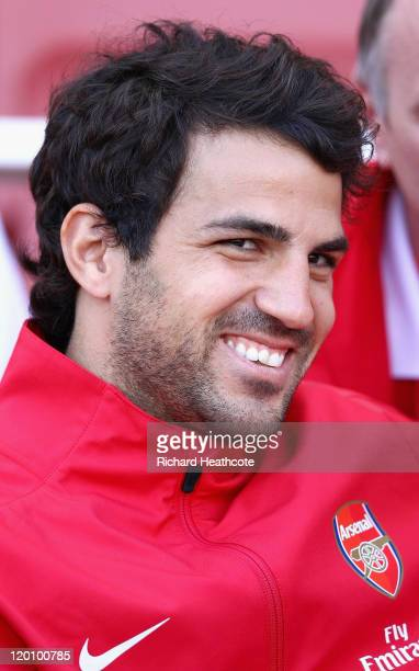 Cesc Fabregas of Arsenal looks on ahead of the Emirates Cup match between Arsenal and Boca Juniors at the Emirates Stadium on July 30 2011 in London...