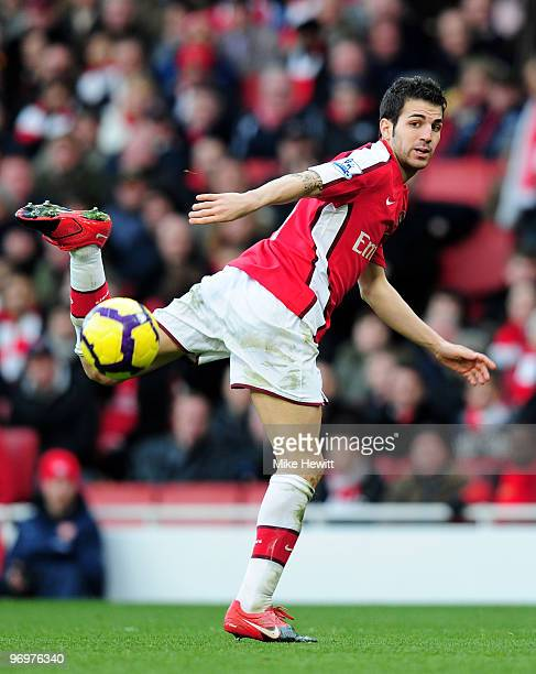 Cesc Fabregas of Arsenal tries a back heel during the Barclays Premier League match between Arsenal and Sunderland at Emirates Stadium on February 20...