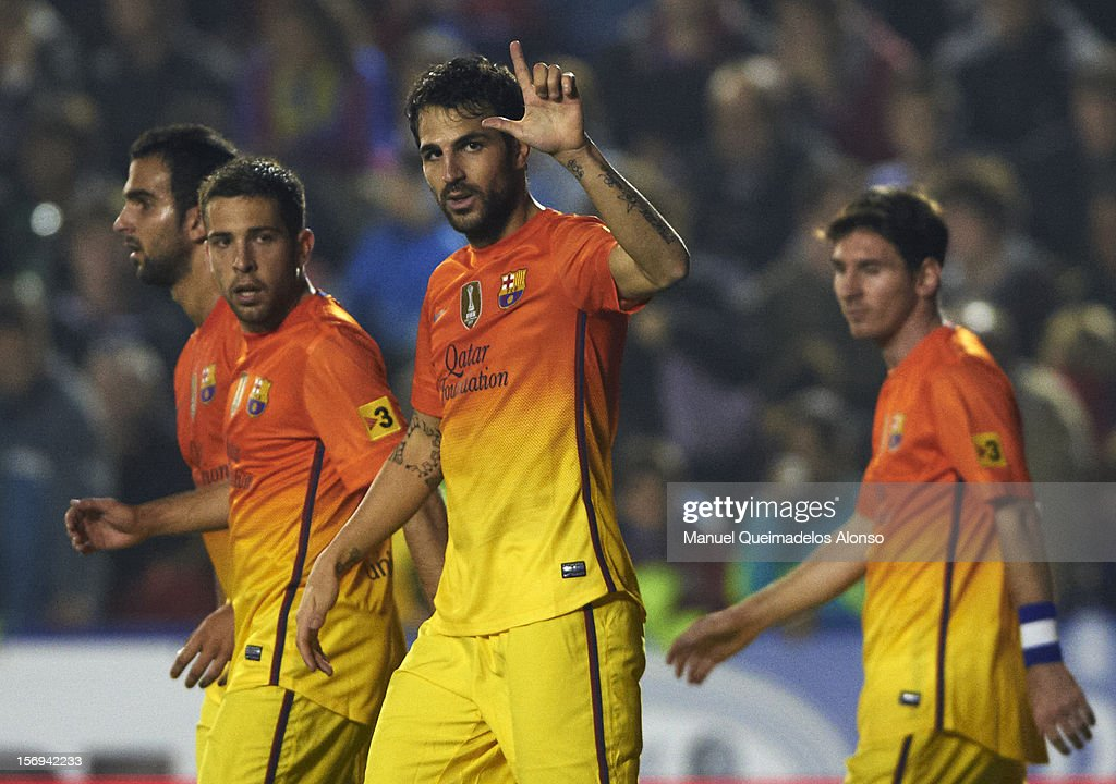 Cesc Fabregas of Barcelona celebrates after scoring during the la Liga match between Levante UD and FC Barcelona at Ciutat de Valencia on November 25, 2012 in Valencia, Spain.