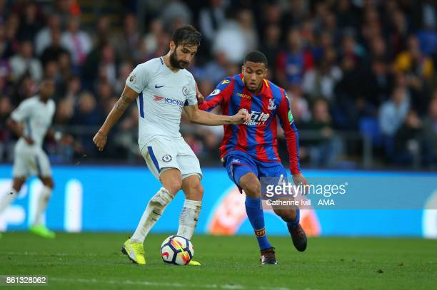 Cesc Fabregas of Chelsea and Jairo Riedewald of Crystal Palace during the Premier League match between Crystal Palace and Chelsea at Selhurst Park on...