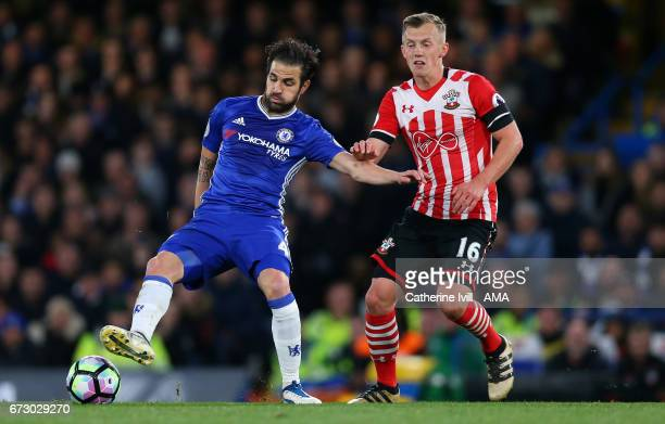 Cesc Fabregas of Chelsea and James WardProwse of Southampton during the Premier League match between Chelsea and Southampton at Stamford Bridge on...
