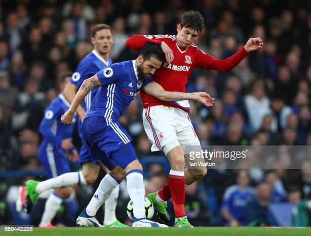 Cesc Fabregas of Chelsea and Marten de Roon of Middlesbrough in action during the Premier League match between Chelsea and Middlesbrough at Stamford...