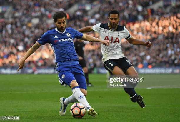 Cesc Fabregas of Chelsea and Mousa Dembele of Tottenham Hotspur in action during The Emirates FA Cup SemiFinal between Chelsea and Tottenham Hotspur...