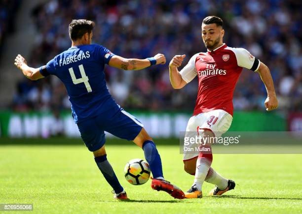 Cesc Fabregas of Chelsea and Sead Kolasinac of Arsenal battle for possession during the The FA Community Shield final between Chelsea and Arsenal at...