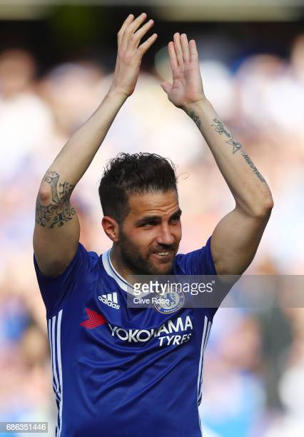 Cesc Fabregas of Chelsea applauds supporters following the Premier League match between Chelsea and Sunderland at Stamford Bridge on May 21 2017 in...