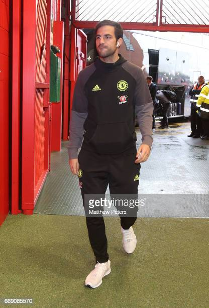 Cesc Fabregas of Chelsea arrives ahead of the Premier League match between Manchester United and Chelsea at Old Trafford on April 16 2017 in...