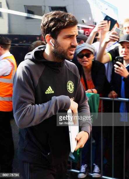 Cesc Fabregas of Chelsea arrives at the stadium prior to the Premier League match between AFC Bournemouth and Chelsea at Vitality Stadium on April 8...