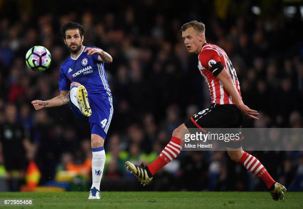 Cesc Fabregas of Chelsea beats James WardProwse of Southampton during the Premier League match between Chelsea and Southampton at Stamford Bridge on...