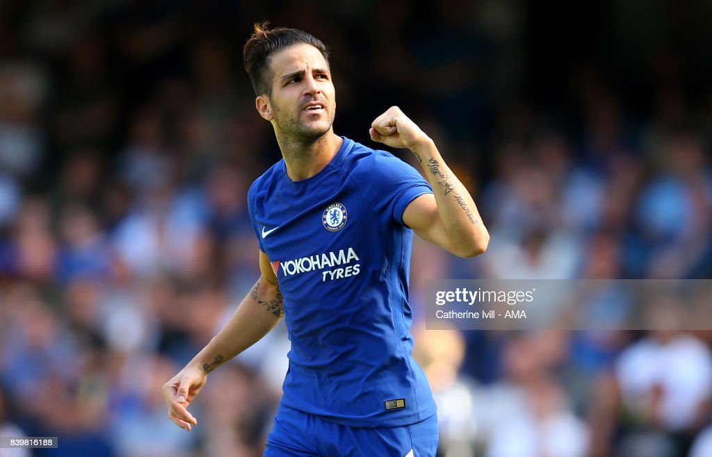 Cesc Fabregas of Chelsea celebrates after he scores to make it 1-0 during the Premier League match between Chelsea and Everton at Stamford Bridge on August 27, 2017 in London, England.