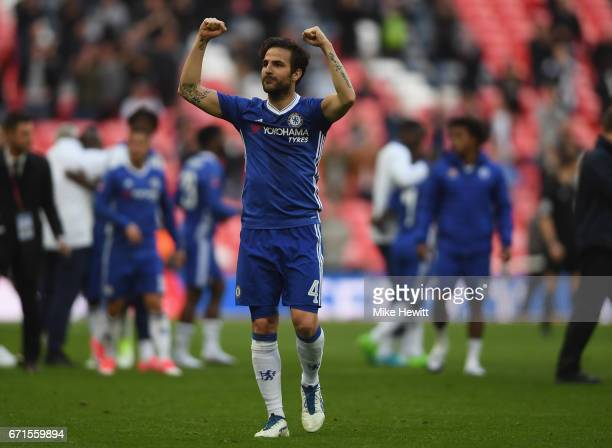 Cesc Fabregas of Chelsea celebrates after The Emirates FA Cup SemiFinal between Chelsea and Tottenham Hotspur at Wembley Stadium on April 22 2017 in...