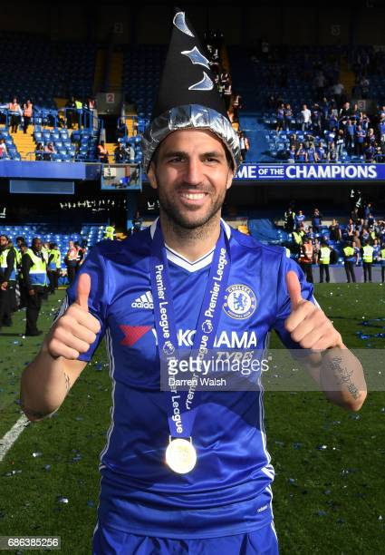 Cesc Fabregas of Chelsea celebrates after the Premier League match between Chelsea and Sunderland at Stamford Bridge on May 21 2017 in London England