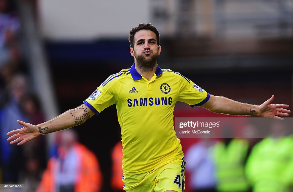 Cesc Fabregas of Chelsea celebrates as he scores their second goal during the Barclays Premier League match between Crystal Palace and Chelsea at Selhurst Park on October 18, 2014 in London, England.