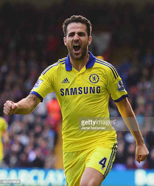 Cesc Fabregas of Chelsea celebrates as he scores their second goal during the Barclays Premier League match between Crystal Palace and Chelsea at...
