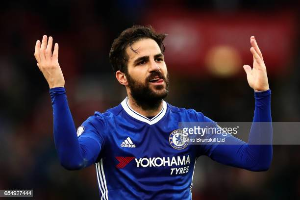 Cesc Fabregas of Chelsea celebrates at fulltime following the Premier League match between Stoke City and Chelsea at Bet365 Stadium on March 18 2017...