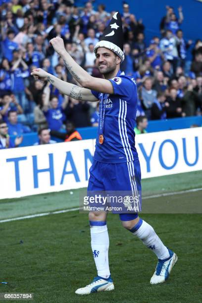 Cesc Fabregas of Chelsea celebrates at the end of the Premier League match between Chelsea and Sunderland at Stamford Bridge on May 21 2017 in London...