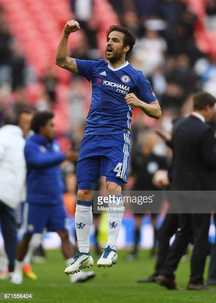 Cesc Fabregas of Chelsea celebrates during The Emirates FA Cup SemiFinal between Chelsea and Tottenham Hotspur at Wembley Stadium on April 22 2017 in...