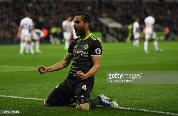 Cesc Fabregas of Chelsea celebrates his sides first goal during the Premier League match between West Bromwich Albion and Chelsea at The Hawthorns on...