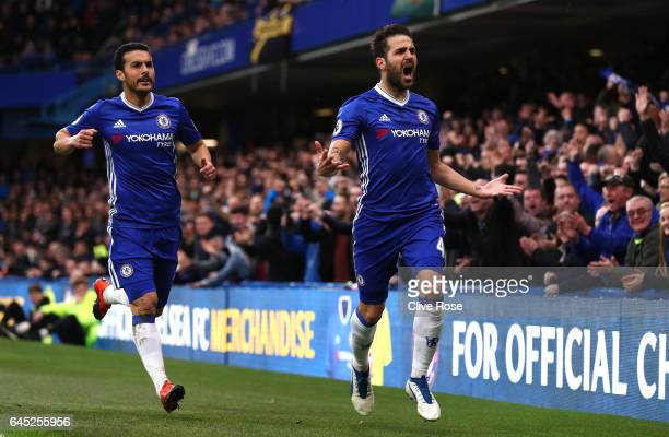 Cesc Fabregas of Chelsea celebrates scoring his sides first goal during the Premier League match between Chelsea and Swansea City at Stamford Bridge...