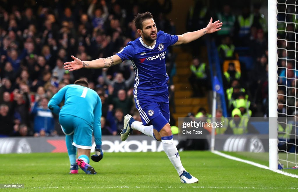 Cesc Fabregas of Chelsea celebrates scoring his sides first goal during the Premier League match between Chelsea and Swansea City at Stamford Bridge on February 25, 2017 in London, England.