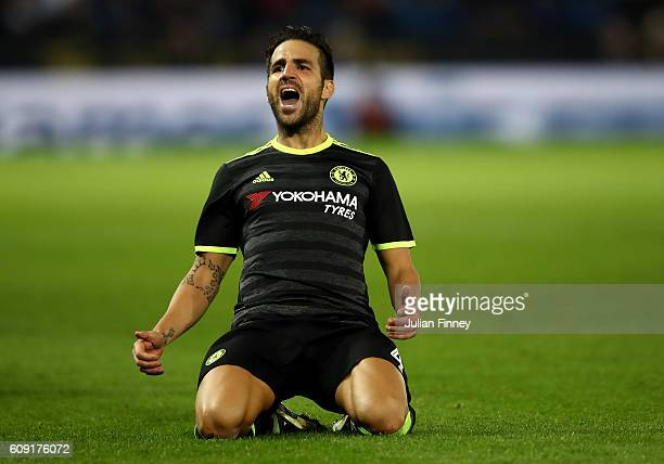 Cesc Fabregas of Chelsea celebrates scoring his sides fourth goal during the EFL Cup Third Round match between Leicester City and Chelsea at The King...