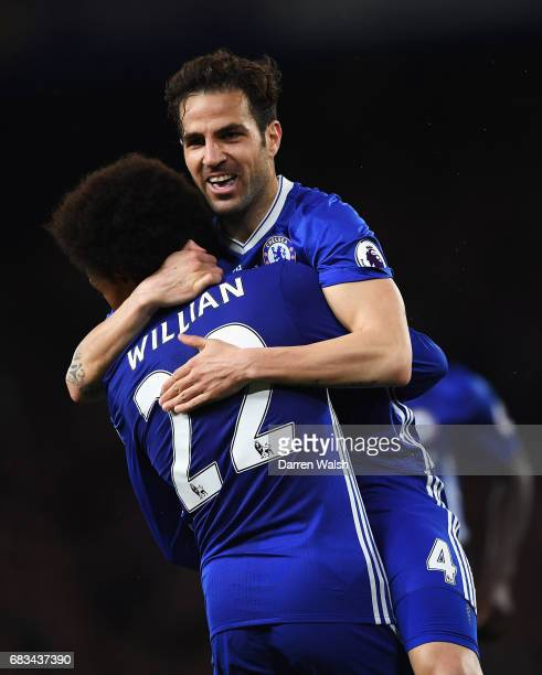 Cesc Fabregas of Chelsea celebrates scoring his sides fourth goal with Willian of Chelsea during the Premier League match between Chelsea and Watford...