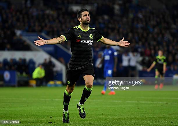 Cesc Fabregas of Chelsea celebrates scoring his sides third goal during the EFL Cup Third Round match between Leicester City and Chelsea at The King...