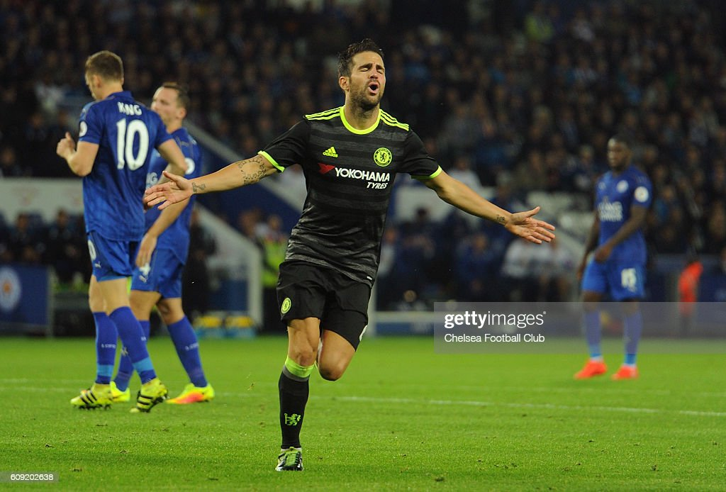 Cesc Fabregas of Chelsea celebrates scoring his team's third goal during the EFL Cup Third Round match between Leicester City and Chelsea at The King Power Stadium on September 20, 2016 in Leicester, England.