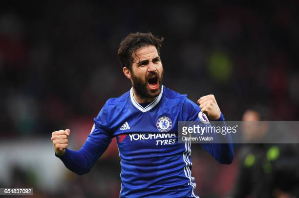 Cesc Fabregas of Chelsea celebrates victory after the Premier League match between Stoke City and Chelsea at Bet365 Stadium on March 18 2017 in Stoke...