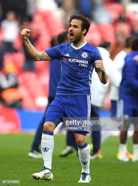 Cesc Fabregas of Chelsea celebrates victory during The Emirates FA Cup SemiFinal between Chelsea and Tottenham Hotspur at Wembley Stadium on April 22...