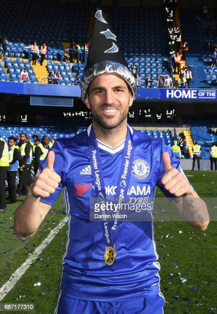 Cesc Fabregas of Chelsea celebrates winning the league following the Premier League match between Chelsea and Sunderland at Stamford Bridge on May 21...