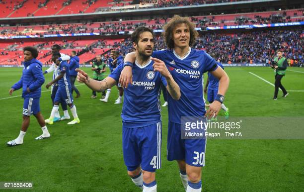 Cesc Fabregas of Chelsea celebrates with David Luiz of Chelsea during The Emirates FA Cup SemiFinal between Chelsea and Tottenham Hotspur at Wembley...