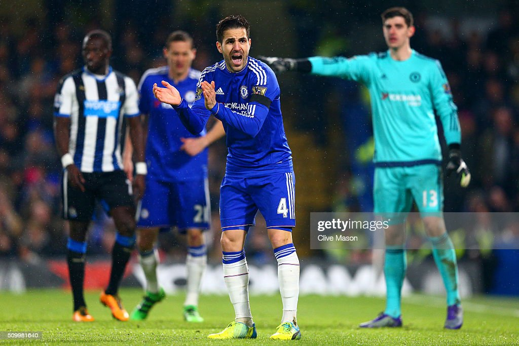 Sesc Fabregas of Chelsea cheers up his team mates during the Barclays Premier League match between Chelsea and Newcastle United at Stamford Bridge on February 13, 2016 in London, England.