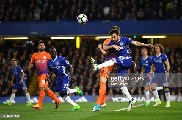 Cesc Fabregas of Chelsea clears the ball during the Premier League match between Chelsea and Manchester City at Stamford Bridge on April 5 2017 in...