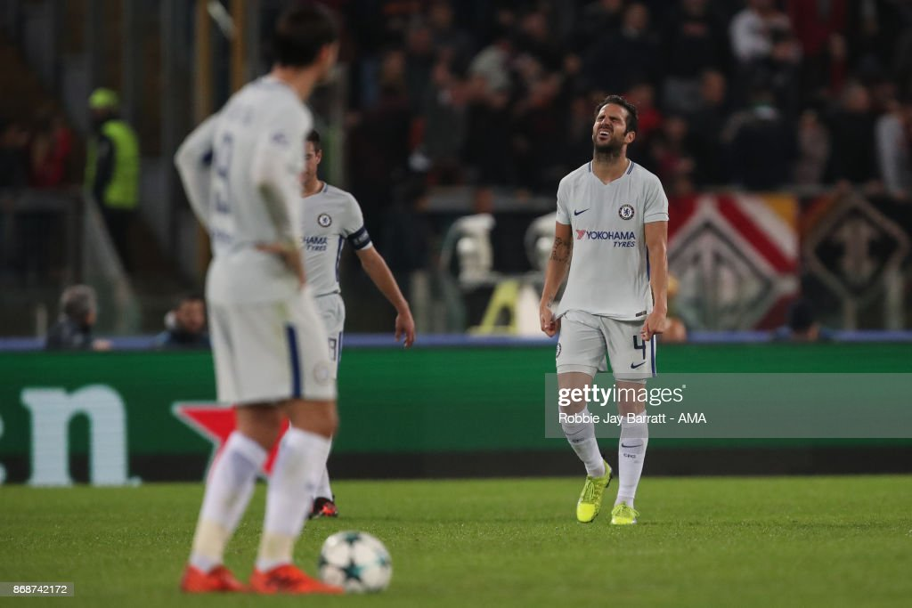 Cesc Fabregas of Chelsea dejected during the UEFA Champions League group C match between AS Roma and Chelsea FC at Stadio Olimpico on October 31, 2017 in Rome, Italy.