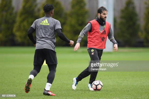 Cesc Fabregas of Chelsea during a training session at Chelsea Training Ground on March 10 2017 in Cobham England