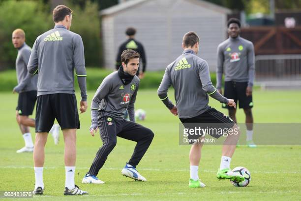 Cesc Fabregas of Chelsea during a training session at Chelsea Training Ground on April 14 2017 in Cobham England