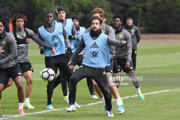 Cesc Fabregas of Chelsea during a training session at Chelsea Training Ground on April 28 2017 in Cobham England