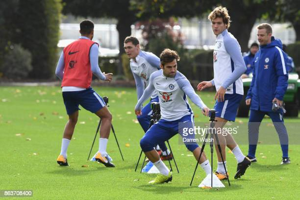 Cesc Fabregas of Chelsea during a training session at Chelsea Training Ground on October 20 2017 in Cobham United Kingdom