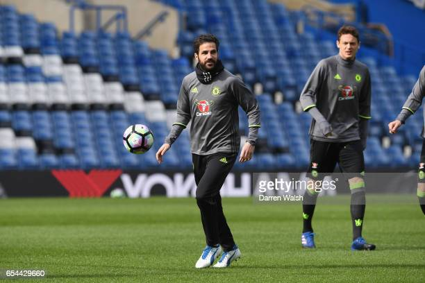 Cesc Fabregas of Chelsea during a training session at Stamford Bridge on March 17 2017 in London England