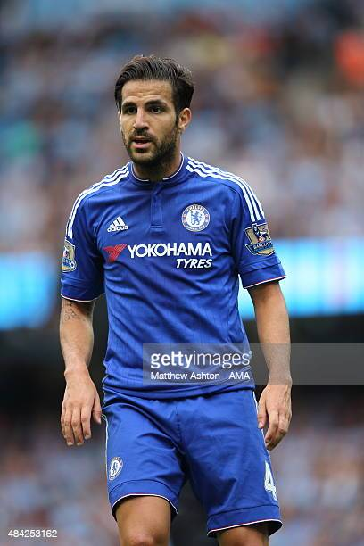 Cesc Fabregas of Chelsea during the Barclays Premier League match between Manchester City and Chelsea at the Etihad Stadium on August 16 2015 in...